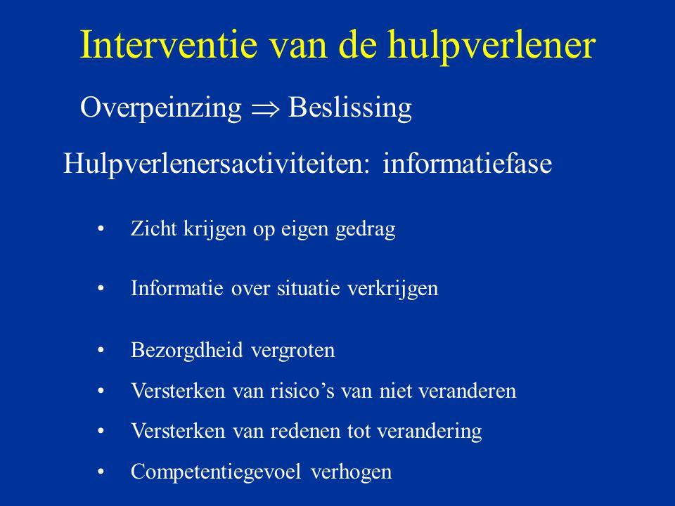 Interventie van de hulpverlener Overpeinzing  Beslissing Zicht krijgen op eigen gedrag Informatie over situatie verkrijgen Hulpverlenersactiviteiten: