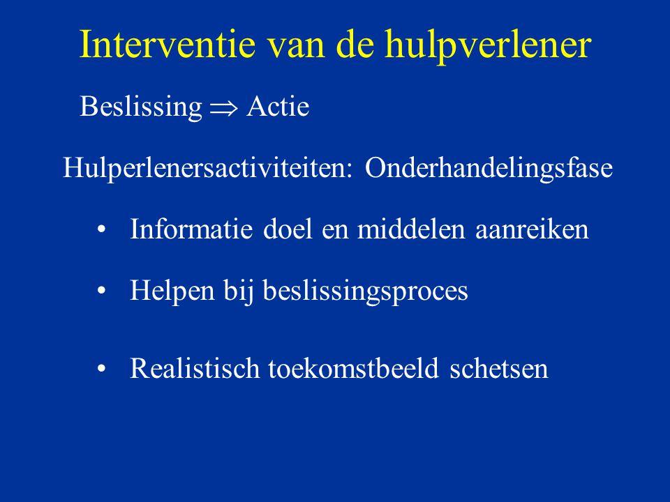 Interventie van de hulpverlener Beslissing  Actie Hulperlenersactiviteiten: Onderhandelingsfase Informatie doel en middelen aanreiken Helpen bij besl