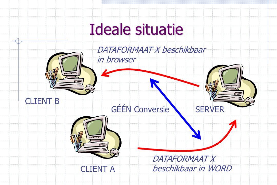 Ideale situatie SERVER CLIENT B CLIENT A DATAFORMAAT X beschikbaar in WORD DATAFORMAAT X beschikbaar in browser GÉÉN Conversie