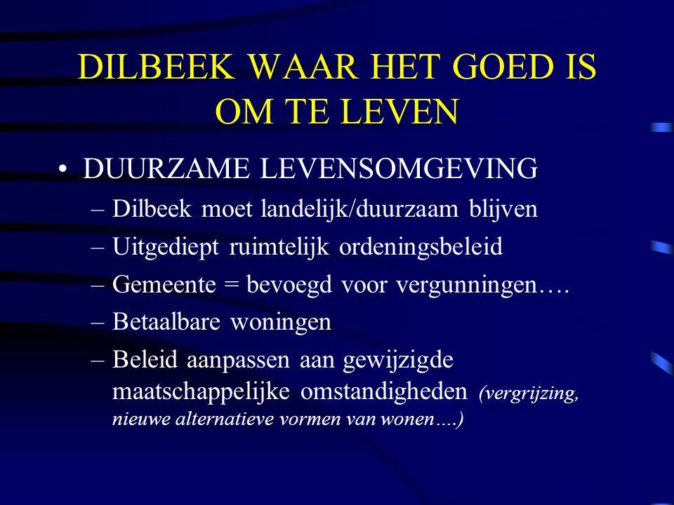 DILBEEK WAAR HET GOED IS OM TE LEVEN DUURZAME LEVENSOMGEVING –Dilbeek moet landelijk/duurzaam blijven –Uitgediept ruimtelijk ordeningsbeleid –Gemeente = bevoegd voor vergunningen….