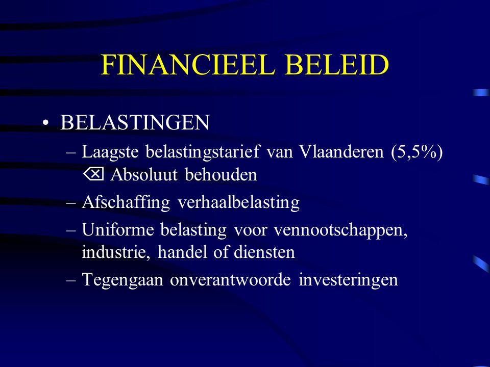 FINANCIEEL BELEID BELASTINGEN –Laagste belastingstarief van Vlaanderen (5,5%)  Absoluut behouden –Afschaffing verhaalbelasting –Uniforme belasting voor vennootschappen, industrie, handel of diensten –Tegengaan onverantwoorde investeringen