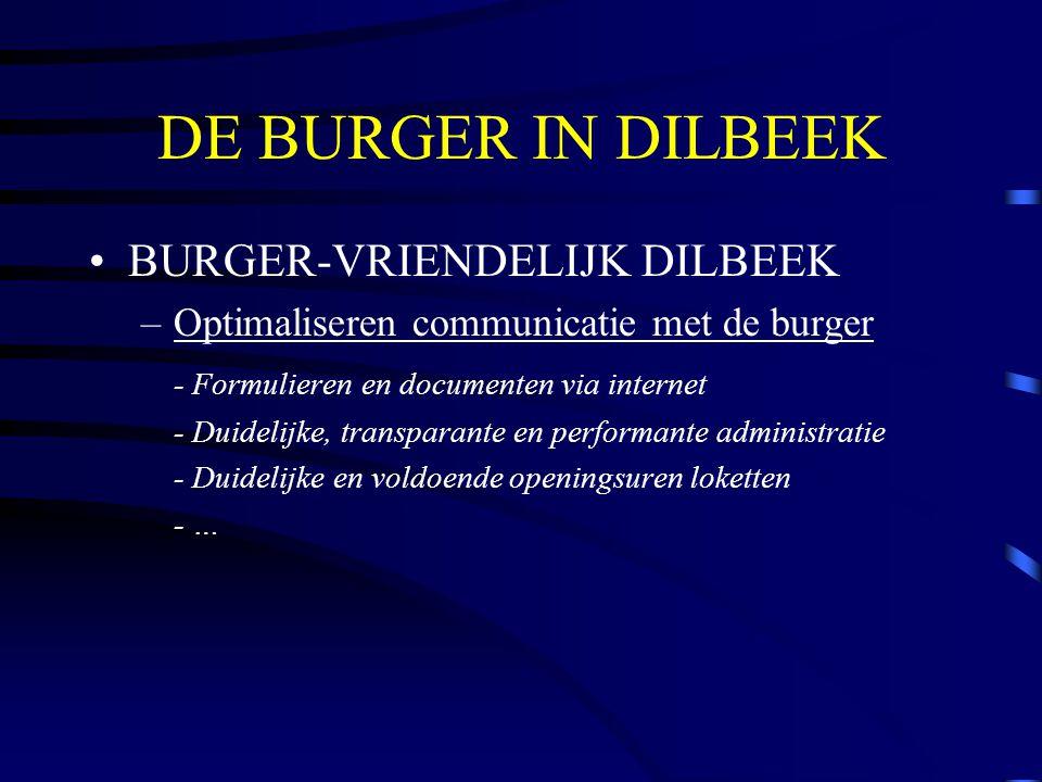 DE BURGER IN DILBEEK BURGER-VRIENDELIJK DILBEEK –Optimaliseren communicatie met de burger - Formulieren en documenten via internet - Duidelijke, transparante en performante administratie - Duidelijke en voldoende openingsuren loketten - …