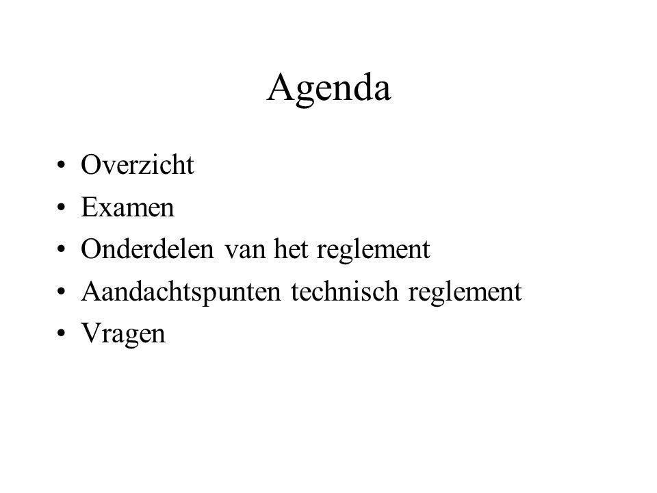 Agenda Overzicht Examen Onderdelen van het reglement Aandachtspunten technisch reglement Vragen