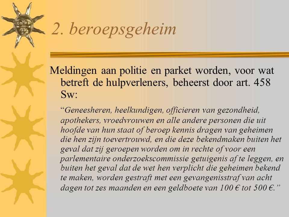 """2. beroepsgeheim Meldingen aan politie en parket worden, voor wat betreft de hulpverleners, beheerst door art. 458 Sw: """"Geneesheren, heelkundigen, off"""