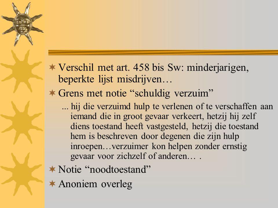 """ Verschil met art. 458 bis Sw: minderjarigen, beperkte lijst misdrijven…  Grens met notie """"schuldig verzuim""""... hij die verzuimd hulp te verlenen of"""