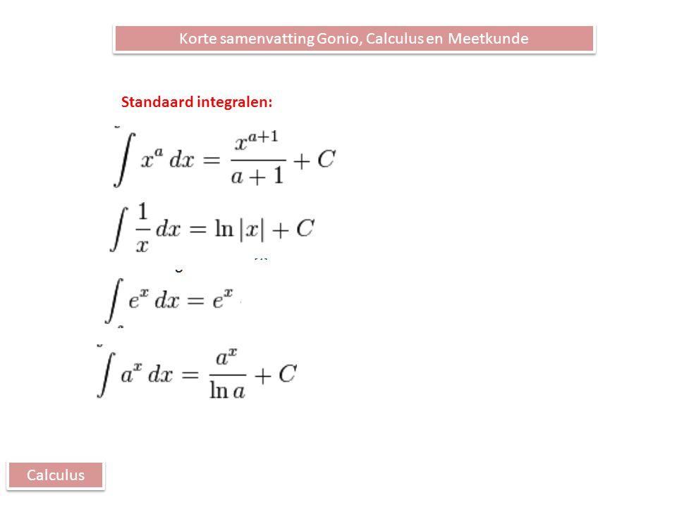 Calculus Korte samenvatting Gonio, Calculus en Meetkunde Standaard integralen: