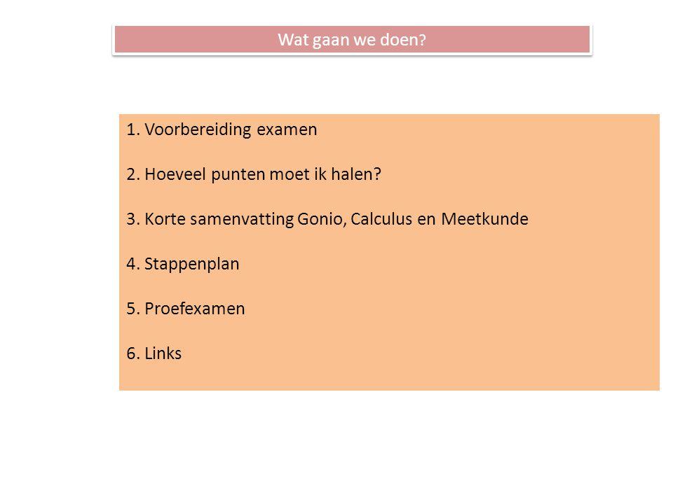 Wat gaan we doen . 1. Voorbereiding examen 2. Hoeveel punten moet ik halen.