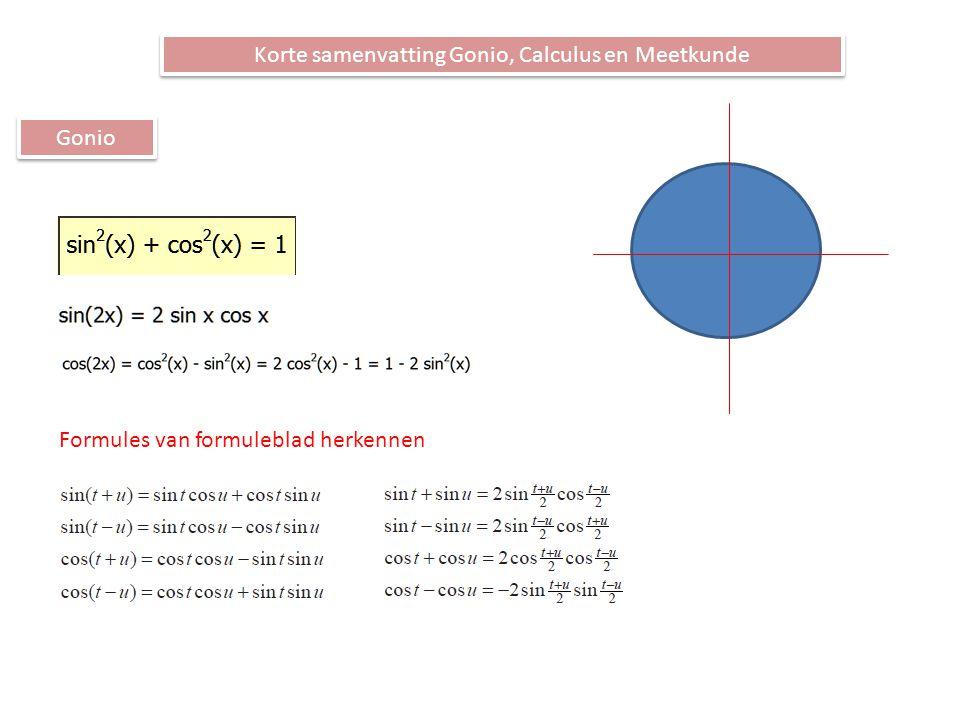 Korte samenvatting Gonio, Calculus en Meetkunde Gonio Formules van formuleblad herkennen