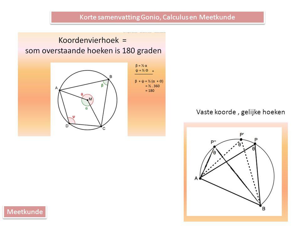 Korte samenvatting Gonio, Calculus en Meetkunde Meetkunde