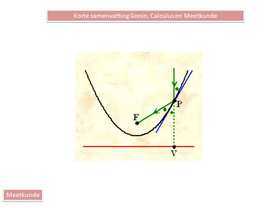 Korte samenvatting Gonio, Calculus en Meetkunde Meetkunde Tips: Drie punten op één lijn Geen hulplijnen tekenen, behalve …..