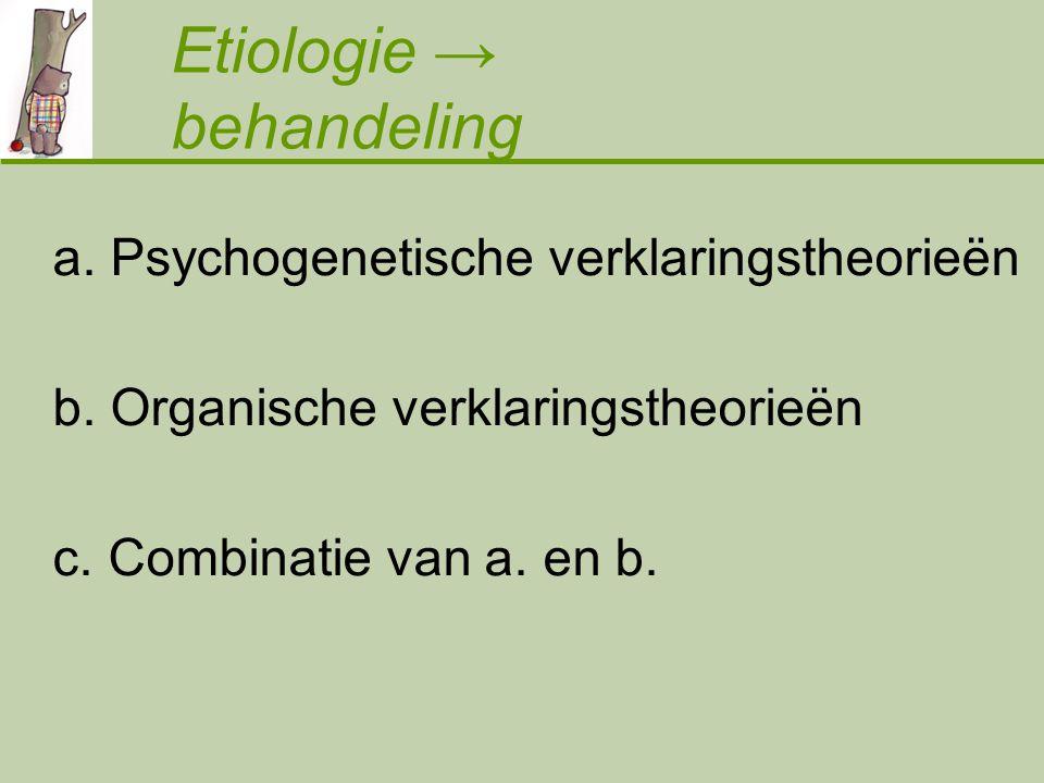 a.Psychogenetische verklaringstheorieën b. Organische verklaringstheorieën c.