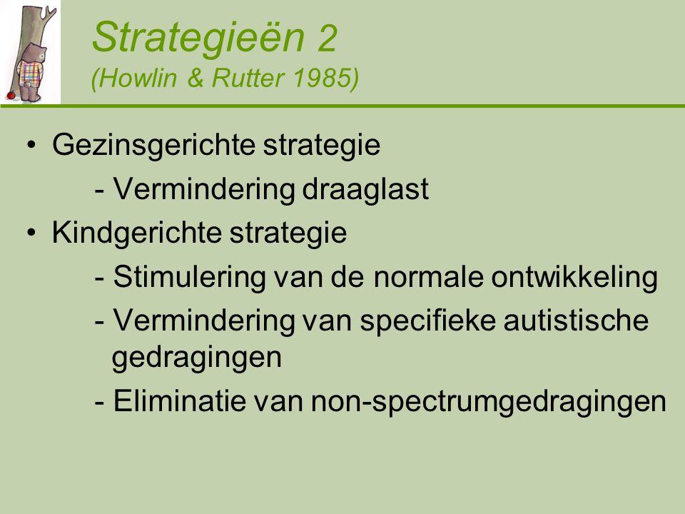 Strategieën 2 (Howlin & Rutter 1985) Gezinsgerichte strategie - Vermindering draaglast Kindgerichte strategie - Stimulering van de normale ontwikkeling - Vermindering van specifieke autistische gedragingen - Eliminatie van non-spectrumgedragingen