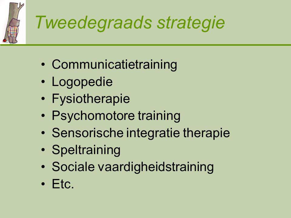 Tweedegraads strategie Communicatietraining Logopedie Fysiotherapie Psychomotore training Sensorische integratie therapie Speltraining Sociale vaardigheidstraining Etc.