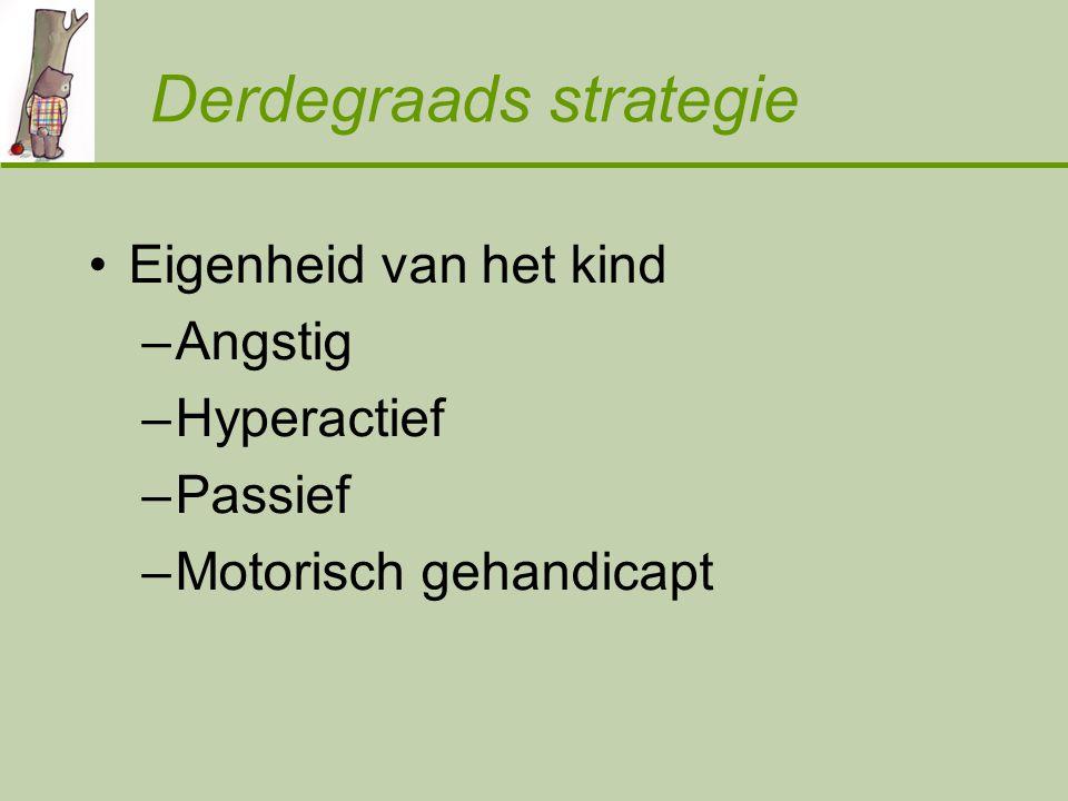 Derdegraads strategie Eigenheid van het kind –Angstig –Hyperactief –Passief –Motorisch gehandicapt