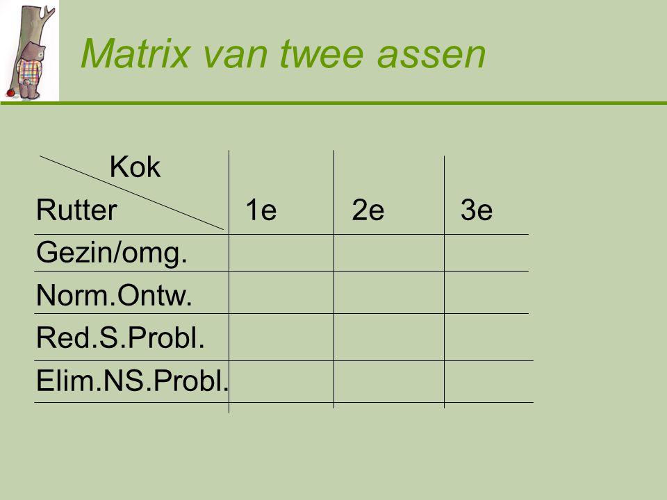 Matrix van twee assen Kok Rutter 1e 2e 3e Gezin/omg. Norm.Ontw. Red.S.Probl. Elim.NS.Probl.