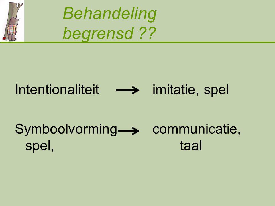 Behandeling begrensd ?? Intentionaliteit imitatie, spel Symboolvorming communicatie, spel, taal