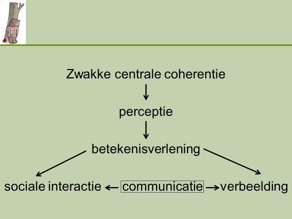 Zwakke centrale coherentie perceptie betekenisverlening sociale interactie communicatie verbeelding