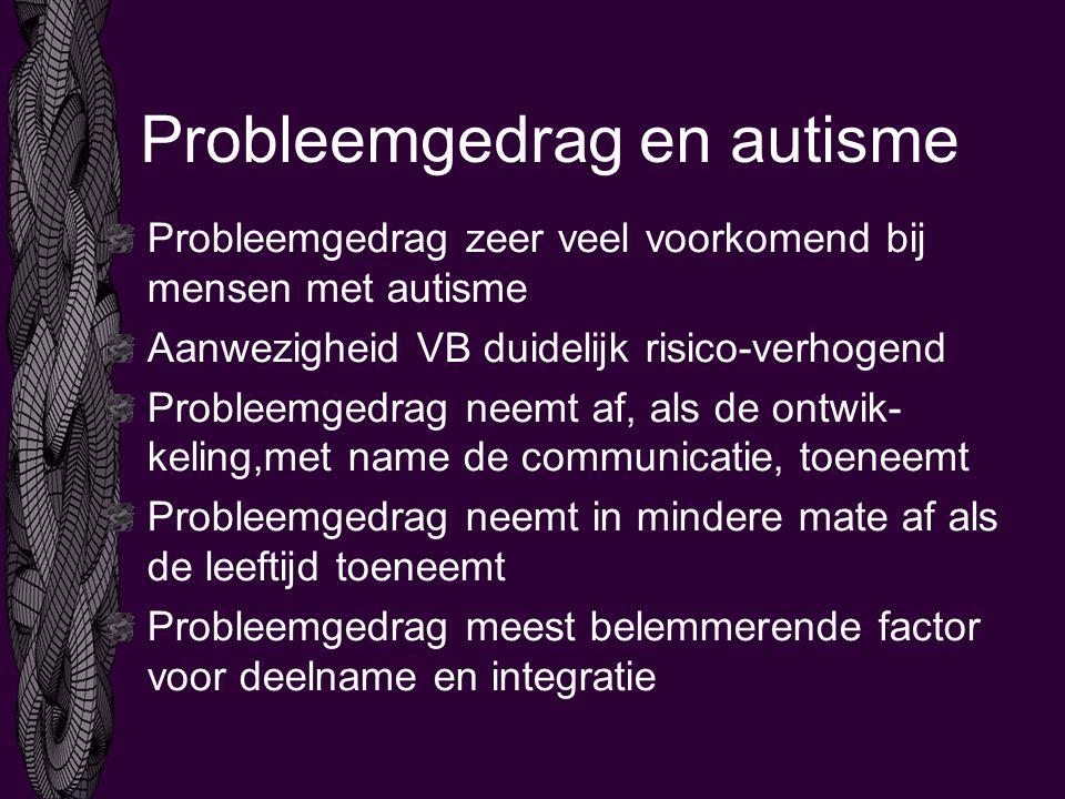 Probleemgedrag en autisme Probleemgedrag zeer veel voorkomend bij mensen met autisme Aanwezigheid VB duidelijk risico-verhogend Probleemgedrag neemt af, als de ontwik- keling,met name de communicatie, toeneemt Probleemgedrag neemt in mindere mate af als de leeftijd toeneemt Probleemgedrag meest belemmerende factor voor deelname en integratie