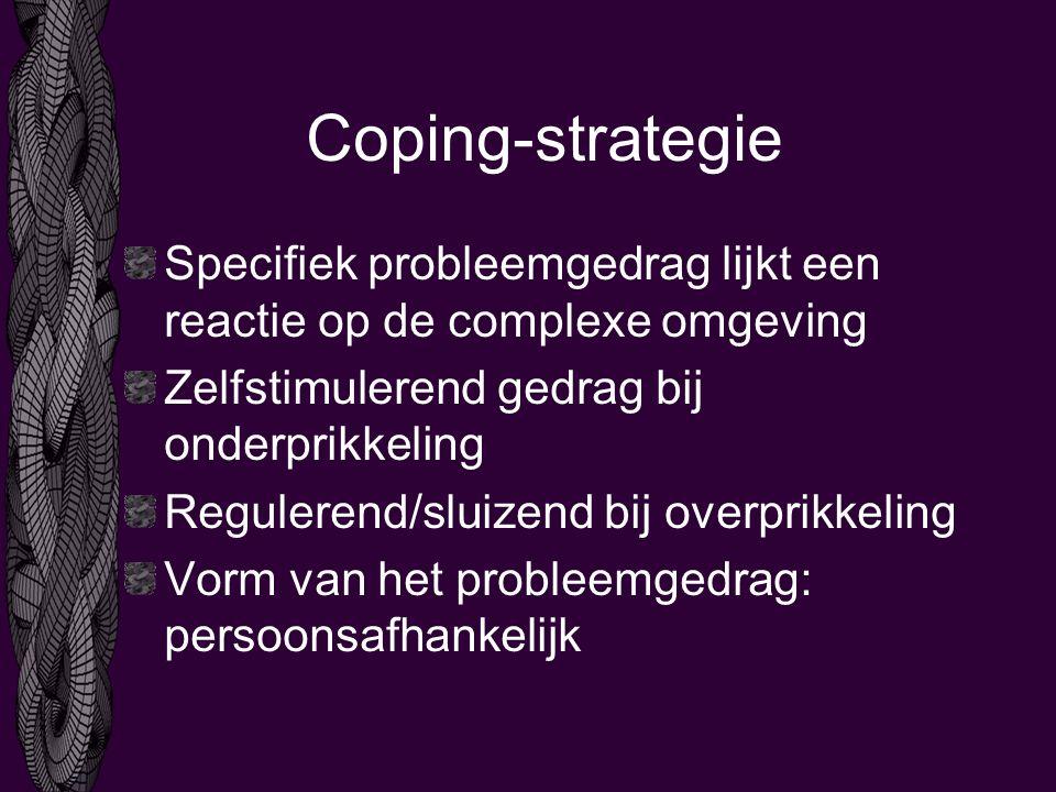 Coping-strategie Specifiek probleemgedrag lijkt een reactie op de complexe omgeving Zelfstimulerend gedrag bij onderprikkeling Regulerend/sluizend bij overprikkeling Vorm van het probleemgedrag: persoonsafhankelijk