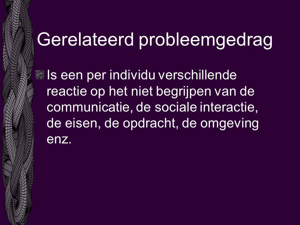 Gerelateerd probleemgedrag Is een per individu verschillende reactie op het niet begrijpen van de communicatie, de sociale interactie, de eisen, de opdracht, de omgeving enz.