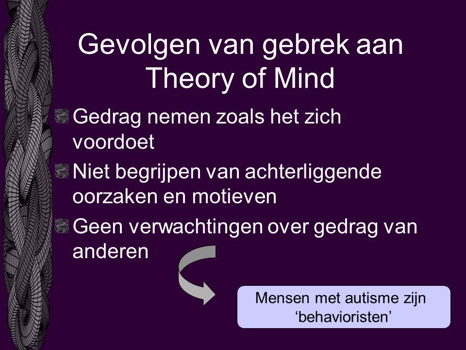 Gevolgen van gebrek aan Theory of Mind Gedrag nemen zoals het zich voordoet Niet begrijpen van achterliggende oorzaken en motieven Geen verwachtingen over gedrag van anderen Mensen met autisme zijn 'behavioristen'