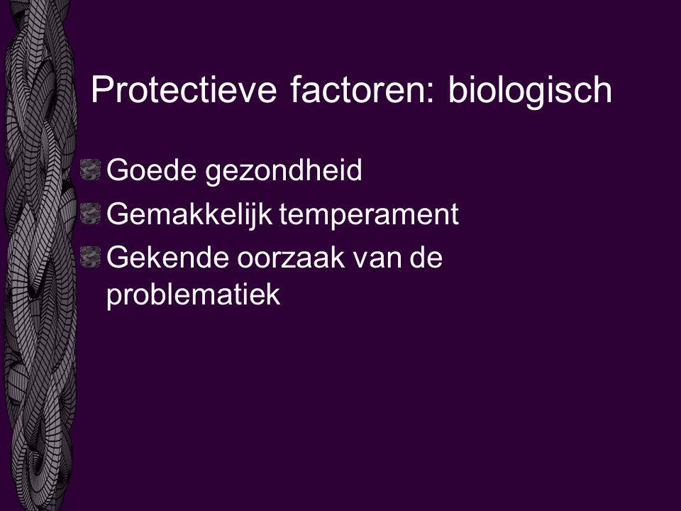 Protectieve factoren: biologisch Goede gezondheid Gemakkelijk temperament Gekende oorzaak van de problematiek