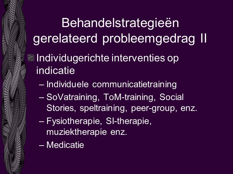 Behandelstrategieën gerelateerd probleemgedrag II Individugerichte interventies op indicatie –Individuele communicatietraining –SoVatraining, ToM-training, Social Stories, speltraining, peer-group, enz.