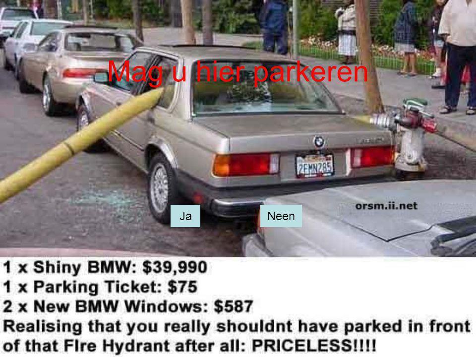 Mag u hier parkeren Ja Nee JaNeen