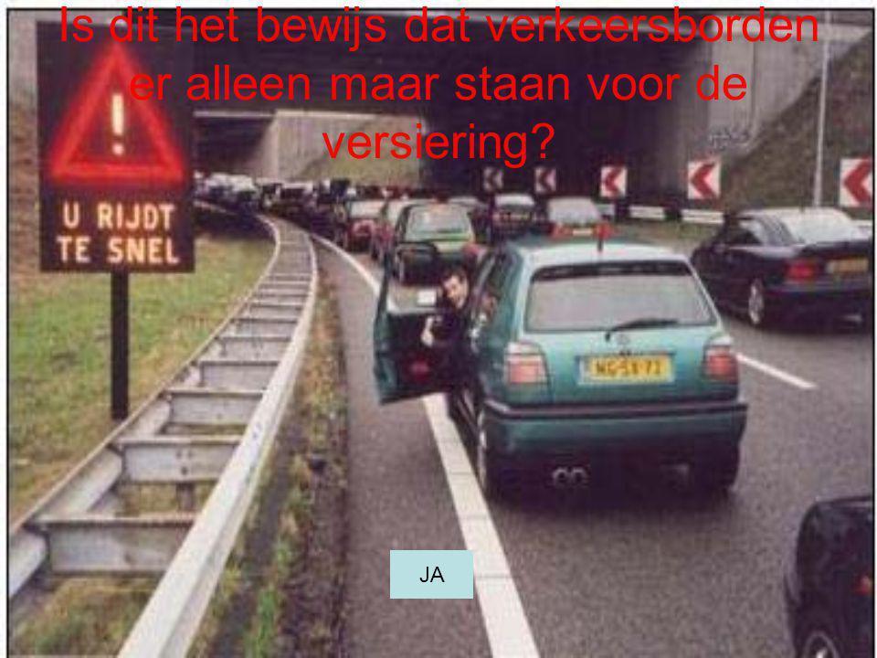 Is dit het bewijs dat verkeersborden er alleen maar staan voor de versiering? JA