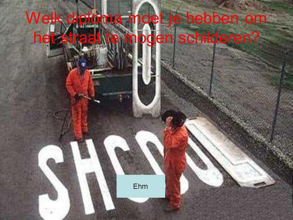 Welk diploma moet je hebben om het straat te mogen schilderen? Ehm