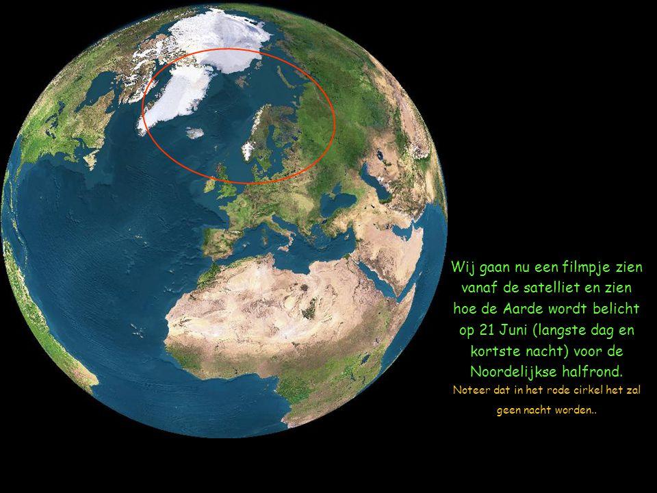 Wij gaan nu een filmpje zien vanaf de satelliet en zien hoe de Aarde wordt belicht op 21 Juni (langste dag en kortste nacht) voor de Noordelijkse halfrond.