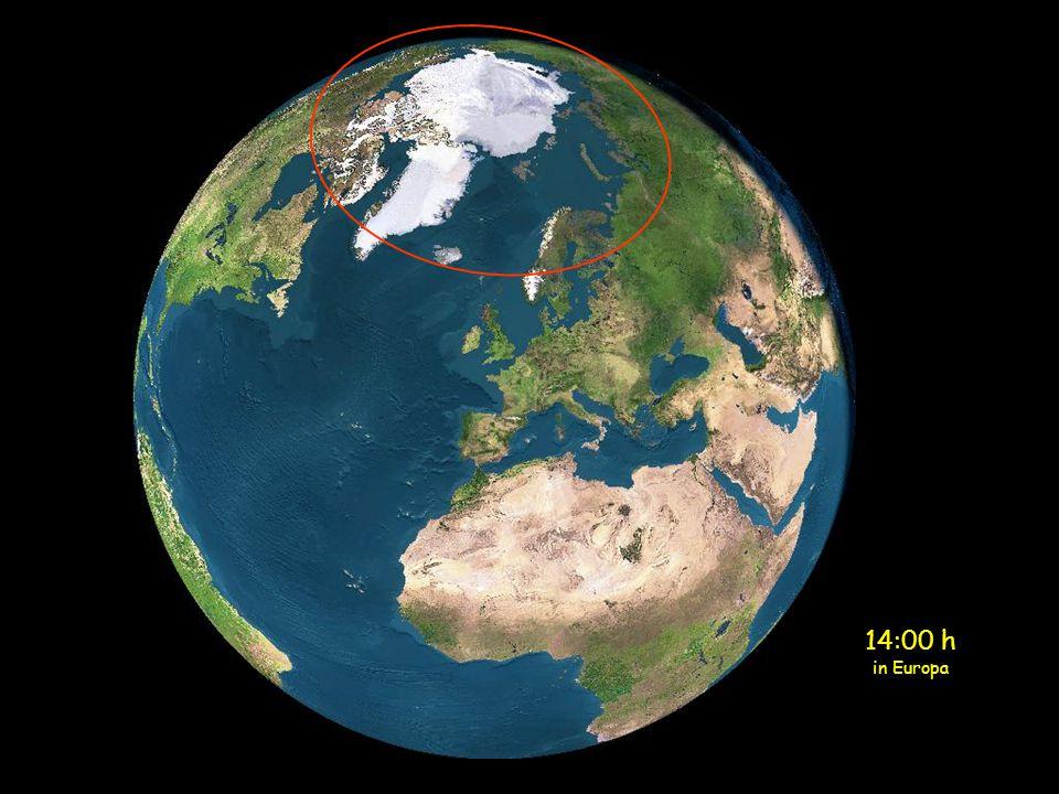 Midnacht in Europa Scandinavie zit volop in de zon om 12 uur 's nachts (Geel cirkel)