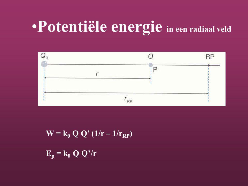 Potentiële energie in een radiaal veld W = k 0 Q Q' (1/r – 1/r RP ) E p = k 0 Q Q'/r