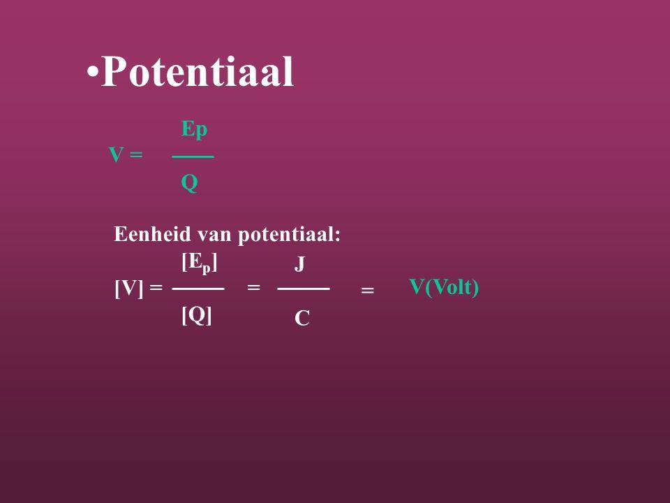 Potentiaal Ep V = Q Eenheid van potentiaal: [E p ] [V] = = [Q] J=CJ=C V(Volt)