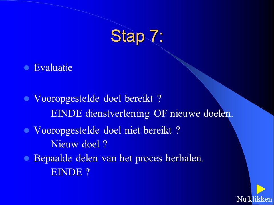 Stap 6: Implementeren van plannen Handelingsproblemen worden aangepakt door middel van activiteit om beperkingen in de handelingscomponenten en/of omg