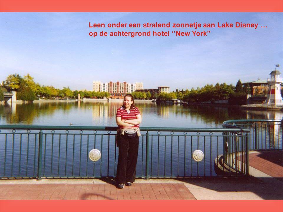 Leen onder een stralend zonnetje aan Lake Disney … op de achtergrond hotel ''New York''