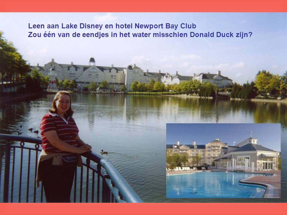 Leen aan Lake Disney en hotel Newport Bay Club Zou één van de eendjes in het water misschien Donald Duck zijn