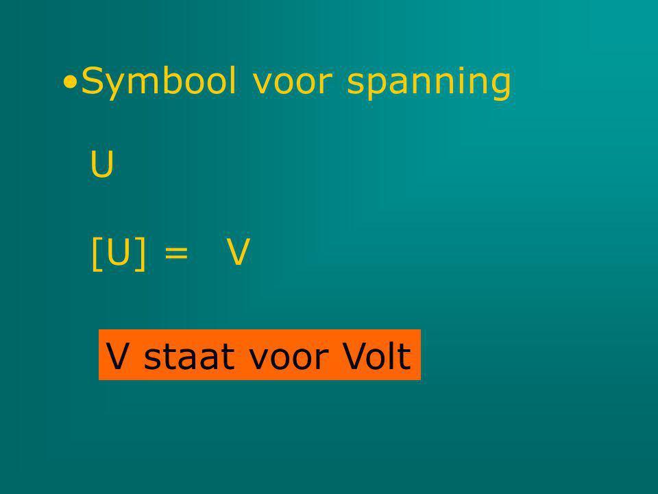 V staat voor Volt Symbool voor spanning U [U] = V