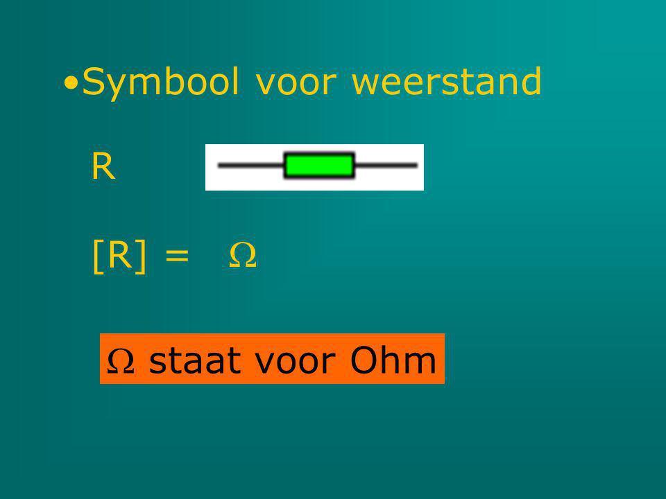  staat voor Ohm Symbool voor weerstand R [R] = 