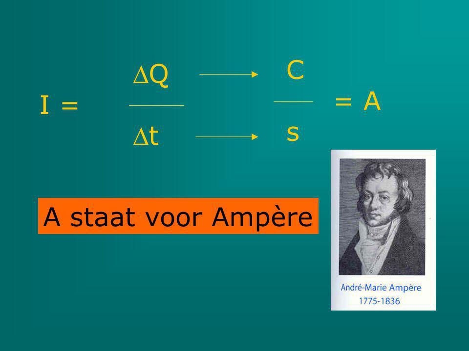 Q I = t C = A s A staat voor Ampère