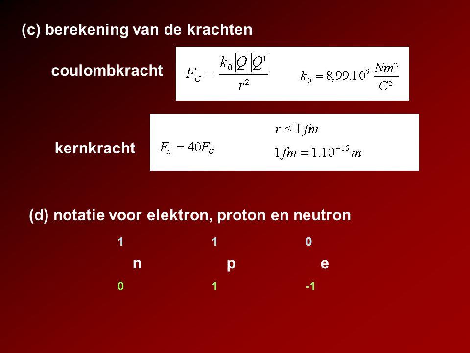 coulombkracht (c) berekening van de krachten kernkracht (d) notatie voor elektron, proton en neutron npenpe 110110 01-1