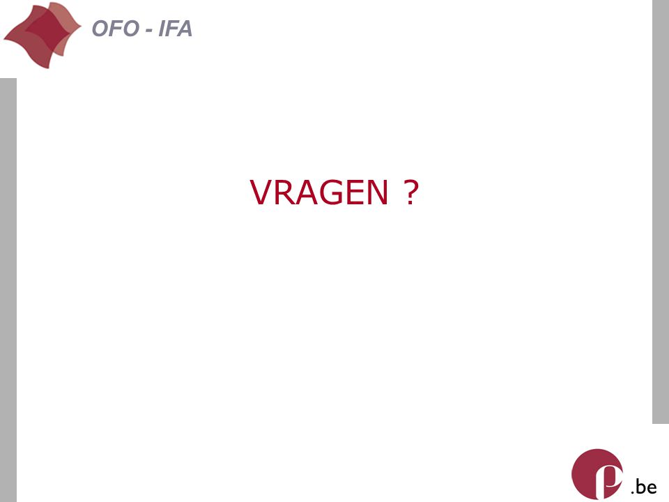 . be OFO - IFA VRAGEN