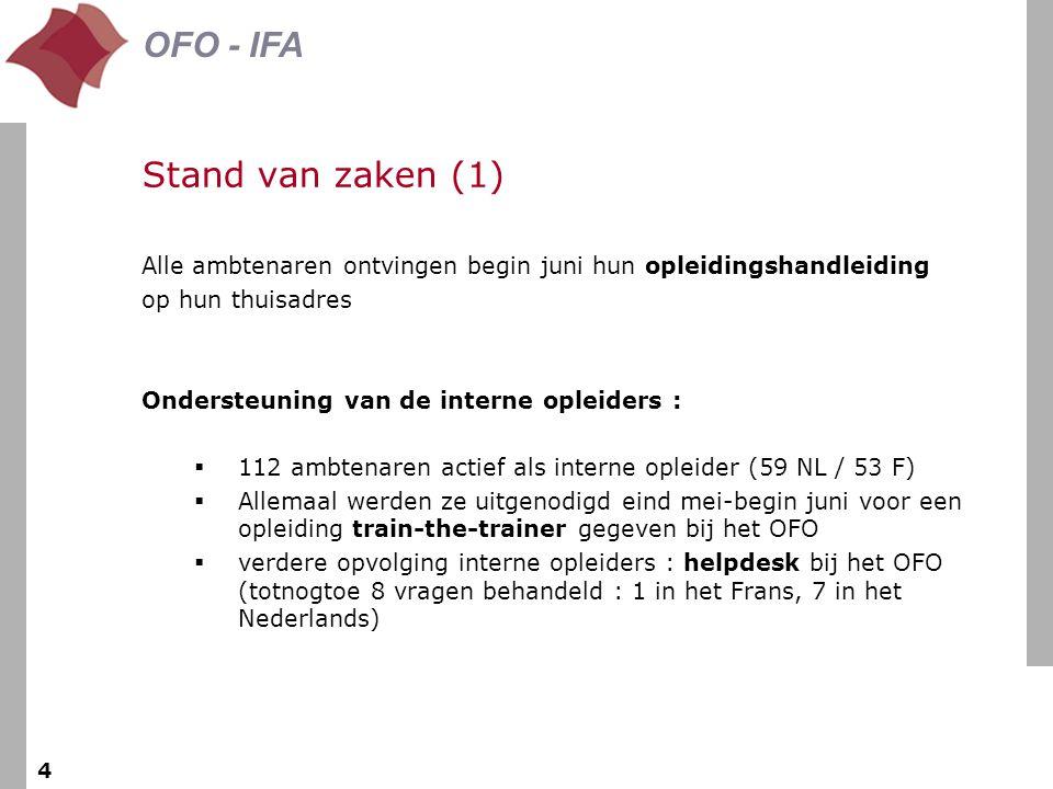 . be OFO - IFA 4 Stand van zaken (1) Alle ambtenaren ontvingen begin juni hun opleidingshandleiding op hun thuisadres Ondersteuning van de interne opl