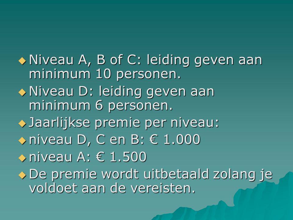  Niveau A, B of C: leiding geven aan minimum 10 personen.  Niveau D: leiding geven aan minimum 6 personen.  Jaarlijkse premie per niveau:  niveau