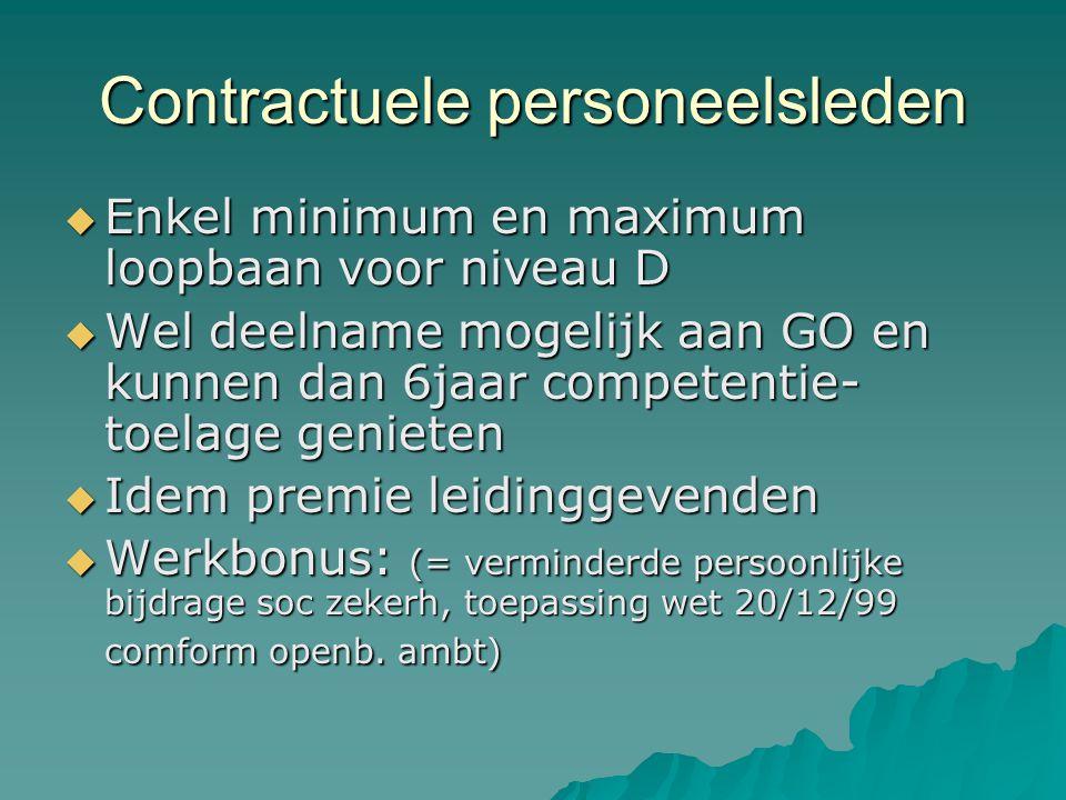 Contractuele personeelsleden  Enkel minimum en maximum loopbaan voor niveau D  Wel deelname mogelijk aan GO en kunnen dan 6jaar competentie- toelage