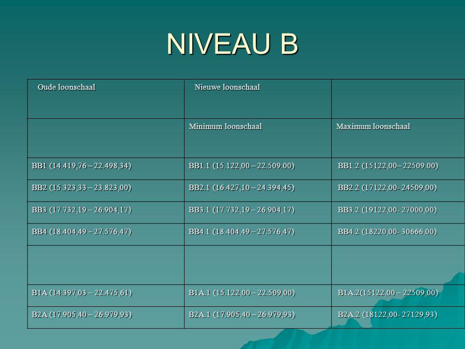 Oude loonschaal Nieuwe loonschaal Minimum loonschaal Maximum loonschaal BB1 (14.419,76 – 22.498,34) BB1.1 (15.122,00 – 22.509.00) BB1.2 (15122,00– 225