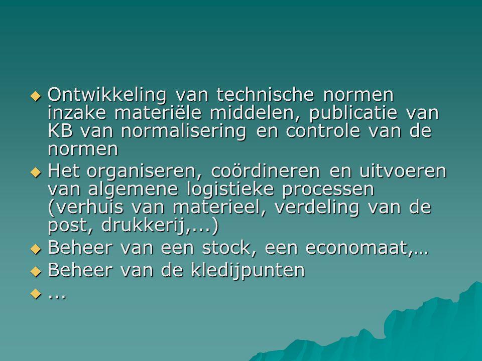  Ontwikkeling van technische normen inzake materiële middelen, publicatie van KB van normalisering en controle van de normen  Het organiseren, coörd