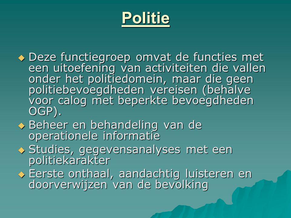Politie  Deze functiegroep omvat de functies met een uitoefening van activiteiten die vallen onder het politiedomein, maar die geen politiebevoegdhed