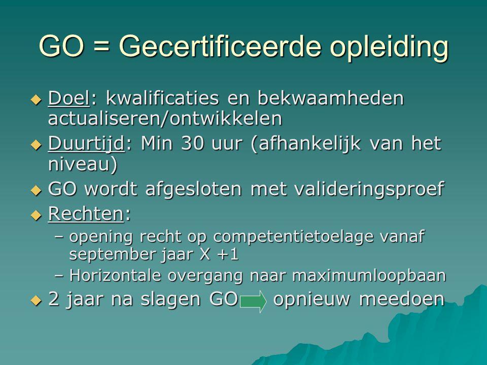 GO = Gecertificeerde opleiding  Doel: kwalificaties en bekwaamheden actualiseren/ontwikkelen  Duurtijd: Min 30 uur (afhankelijk van het niveau)  GO