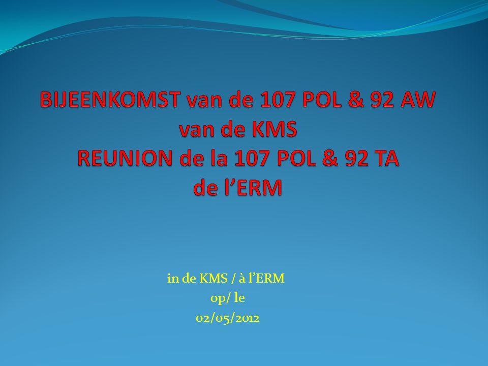 in de KMS / à l'ERM op/ le 02/05/2012